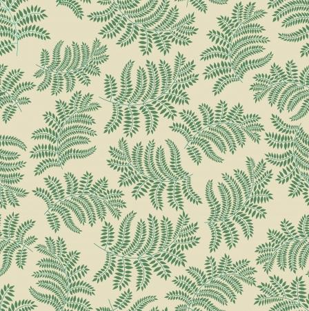 fern: leaves seamless pattern on yellow background  Illustration