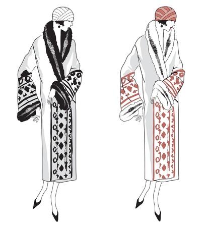 Set Von Retro-Mode Der 1920er Jahre 1930er Objekte Mit Hand ...