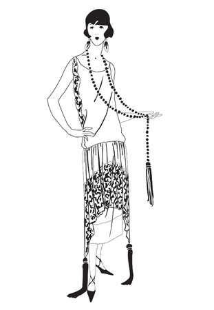 flapper: Flapper girls  20 s style   Retro fashion party  Illustration