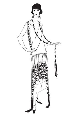 flapper: Muchachas de la aleta 20 s estilo de fiesta de la moda retro Vectores