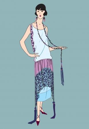 stile liberty: Ragazze flapper 20 s stile retrò 1930 del partito di moda