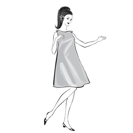 office party: Moda elegante vestido ni�as 1950 s 1960 s estilo retro siluetas de fiesta de la moda la moda del vintage de los a�os 60 Vectores