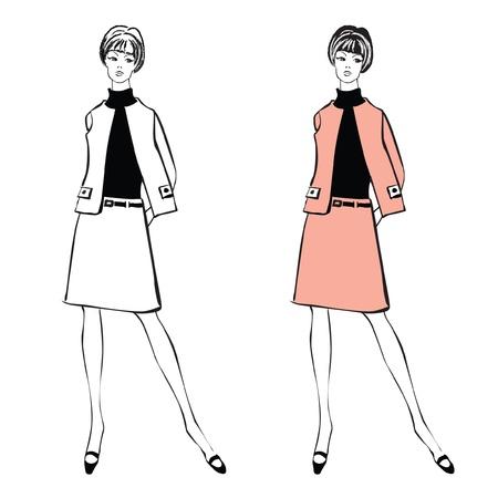 bocetos de personas: Moda elegante vestido niñas 1950 s 1960 s estilo retro siluetas de fiesta de la moda la moda del vintage de los años 60 Vectores