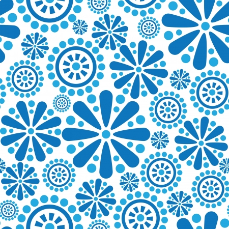 Seamless background of flowers and geometric shapes  Vector