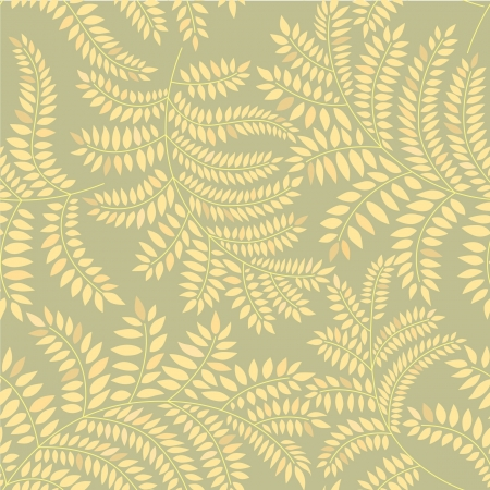 leaves seamless pattern on yellow green background  Vector