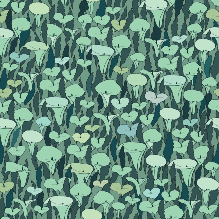 cal: floral seamless pattern with flowers cal on dark green background