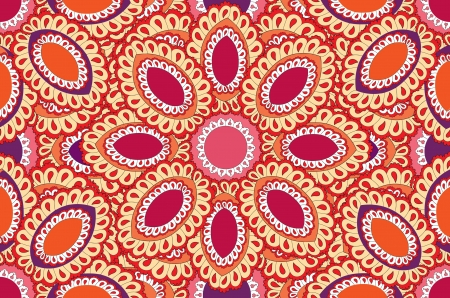 Floral seamless background  Indian ornament, kaleidoscopic floral pattern   Vector
