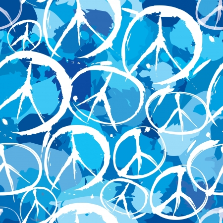 disarmament: seamless pattern with multicolor symbols of peace