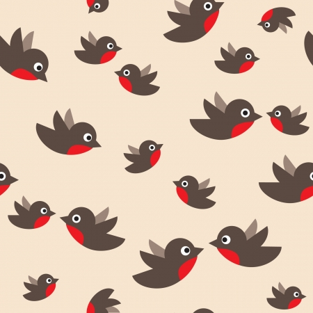 sparrow: robin seamless pattern