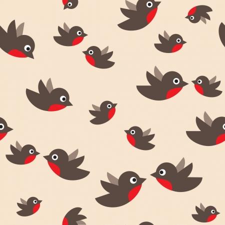 robin bird: robin seamless pattern