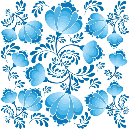 gzhel: seamless pattern with flower bouquet ornament on white background
