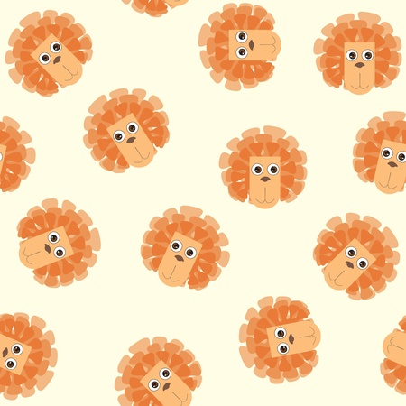 seamless red background from naive drawn lions Vector