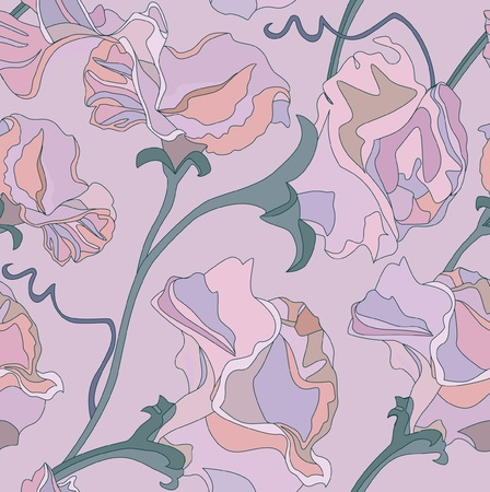 seamless pattern with lilac and pink flowers sweet peas  Vector
