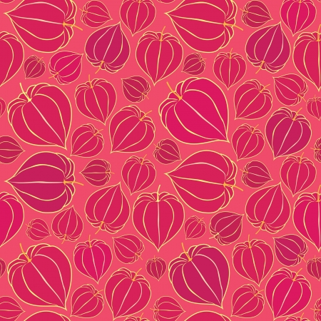floral seamless pattern with winter cherry, floral motif red background  Vector