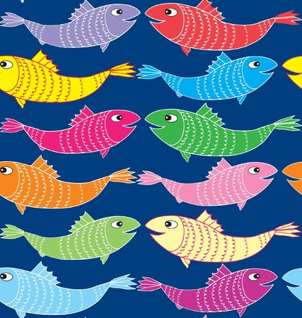 flying fish: Multicolor Fish Seamless Pattern on blue background  Sea Life  Illustration