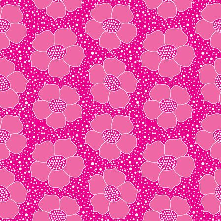 floral seamless wallpaper with pink flowers  Vector