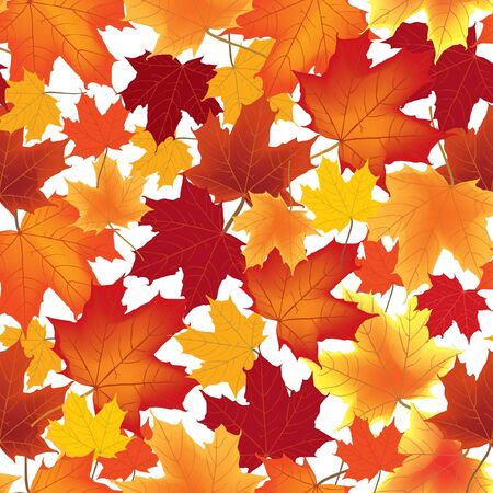 flying leaves: autumn maple leaves seamless pattern background  Illustration