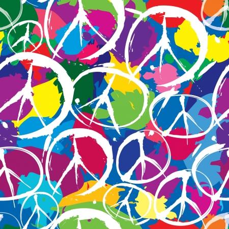 siebziger jahre: nahtlose Muster mit mehrfarbigen Symbole des Friedens
