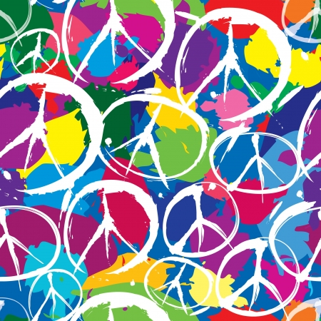 pacifist: seamless pattern with multicolor symbols of peace