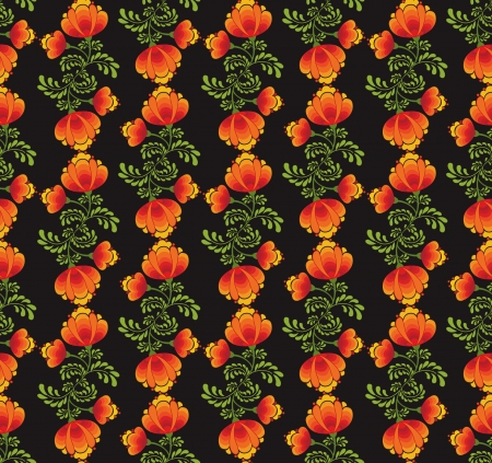yellow  ochre: floral seamless pattern with flowers on black in russian style  Illustration