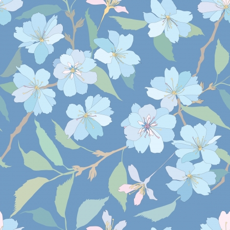 lilac flower: floral seamless pattern with white and blue flowers