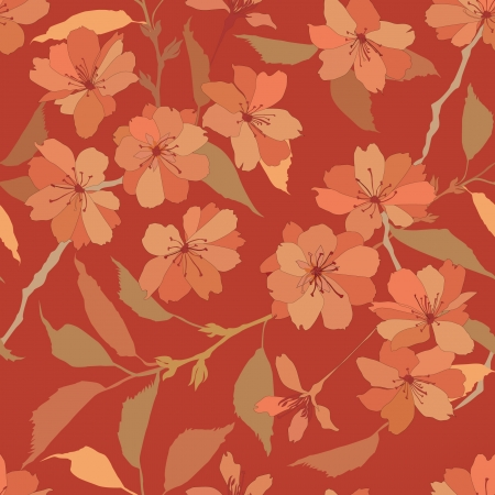 seamless pattern with orange and biege flowers  Vector