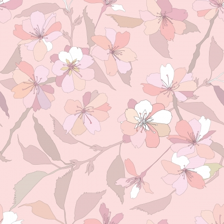seamless pattern with lilac and pink flowers  Vector