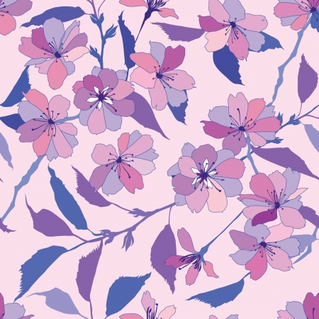violet red: floral seamless pattern with pink and lilac flowers