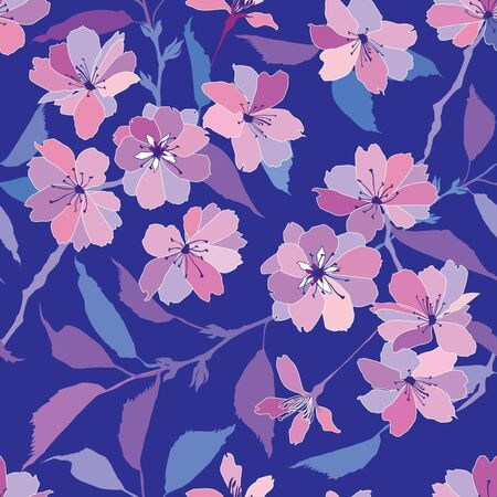 vinous: floral seamless pattern with pink and lilac flowers  Illustration