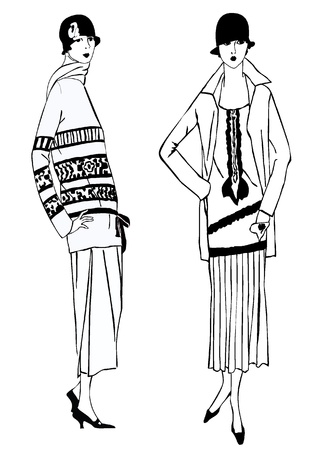 stylish women: Flapper skinny girls  20 s style   Retro fashion party Illustration