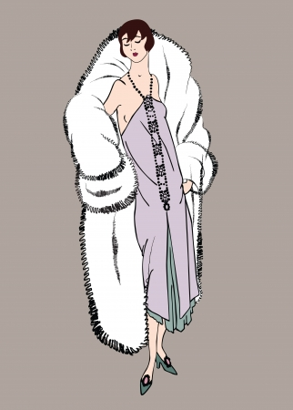 woman fur: Flapper skinny girl  20 s style   Retro fashion party Illustration