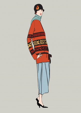 winter woman: Flapper skinny girl  20 s style   Retro fashion party Illustration