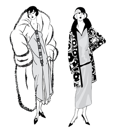 woman fur: Flapper skinny girls  20 s style   Retro fashion party Illustration