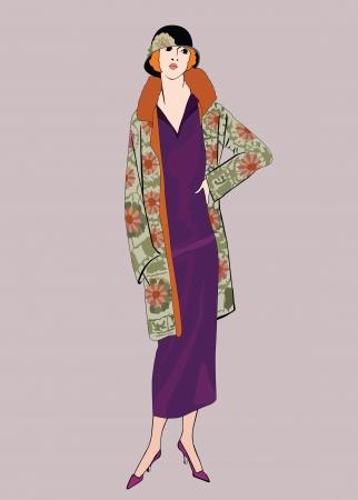 flapper: Flapper skinny girl  20 s style   Retro fashion party Illustration
