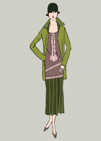 Flapper skinny girl  20 s style   Retro fashion party  Vector