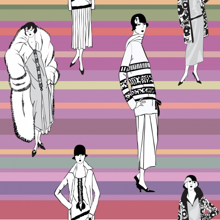 20 s: Flapper girls  20 s style  seamless pattern  Retro fashion party background