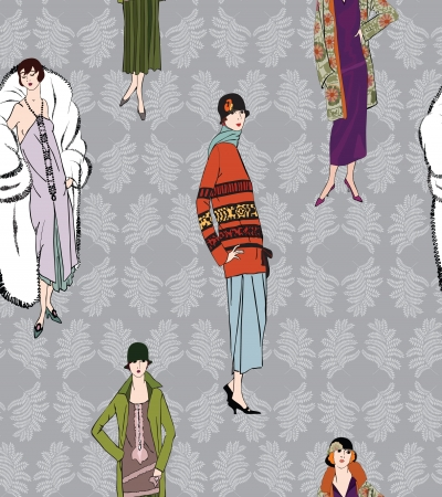 runway: Flapper girls  20 s style  seamless pattern  Retro fashion party background