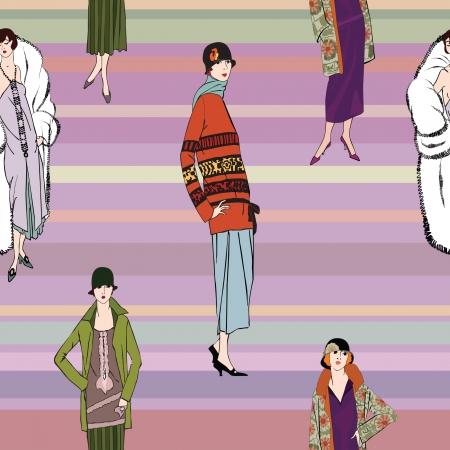 flapper: Muchachas de la aleta 20 s estilo seamless pattern Retro fashion party background