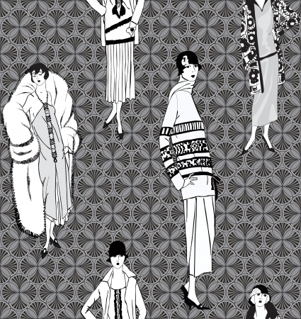 classic woman: Flapper girls  20 s style  seamless pattern  Retro fashion party background
