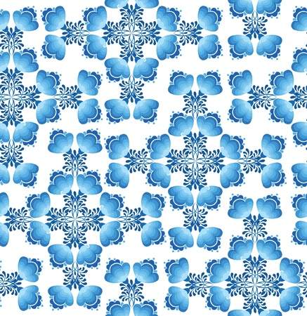 floral seamless pattern with flowers on white in russian style Gzhel  Vector