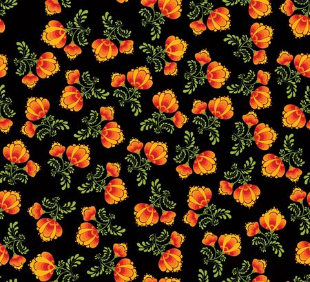 floral seamless pattern with flowers on black in russian style  Vector
