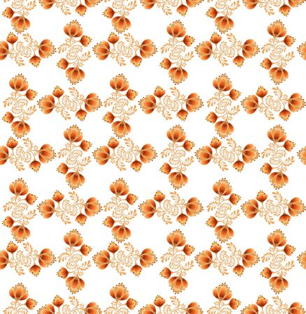 floral seamless pattern with flowers on white in russian style  Vector