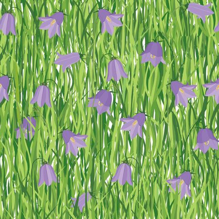 lilac background: floral seamless pattern background with flowers lilac bluebells  Illustration