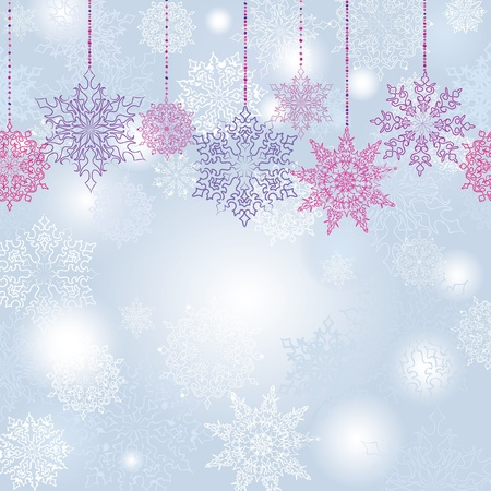 Snowflakes seamless garland  Christmas decoration  Snow background   Vector