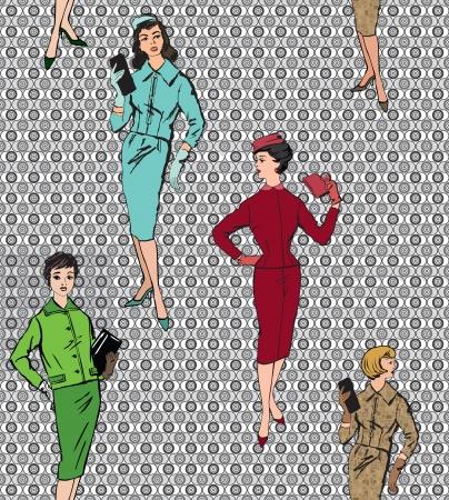 catwalk model: Moda elegante vestito delle ragazze di stile 1950 s 1960 s seamless pattern Retro moda silhouette moda vintage partito da anni '60