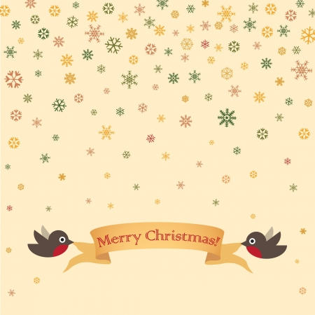 Christmas and New Year greeting card with robin Vector