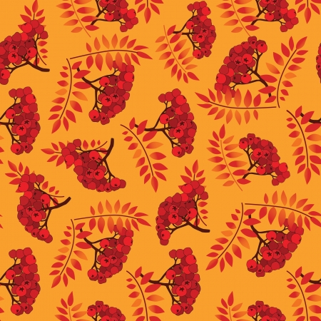 Autumn leaves seamless pattern background  Rowan berry seamless texture   Stock Vector - 16875579