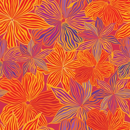 Floral seamless background in 60s style, Red and orange flowers  1960s texture  Vector