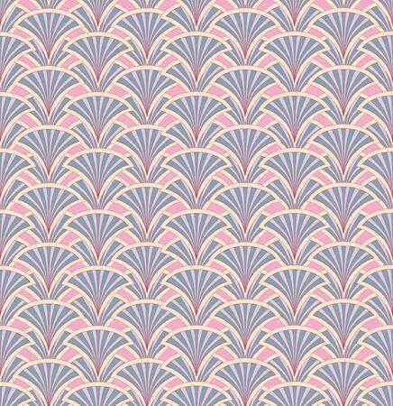 semicircle: Floral pattern seamless  Fan vector motif  Pink background  Elegant wallpaper