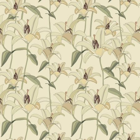 floral seamless pattern with gentle flowers lily  Vector